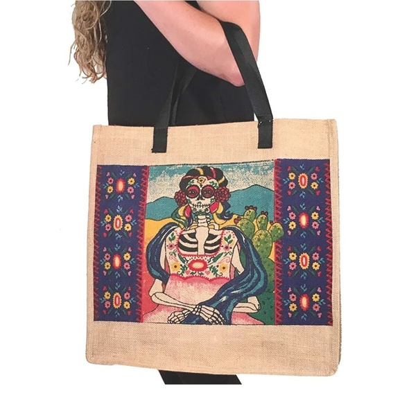 Handbags - Large Sugar Skull Day of the Dead Canvas Tote